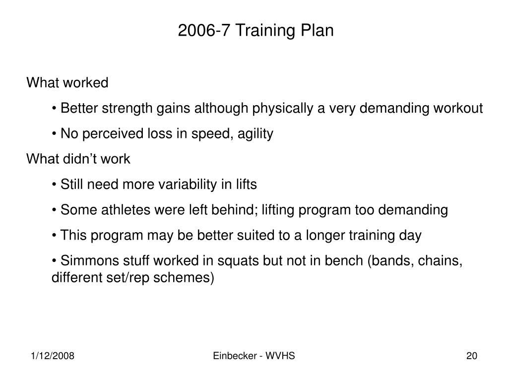 2006-7 Training Plan