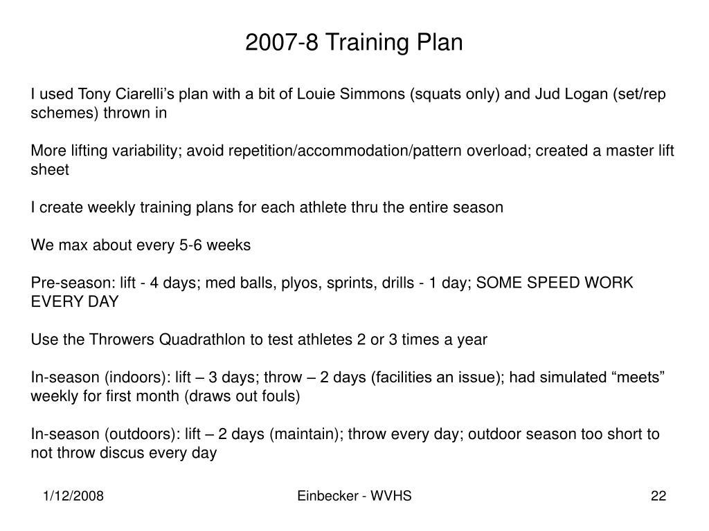 2007-8 Training Plan