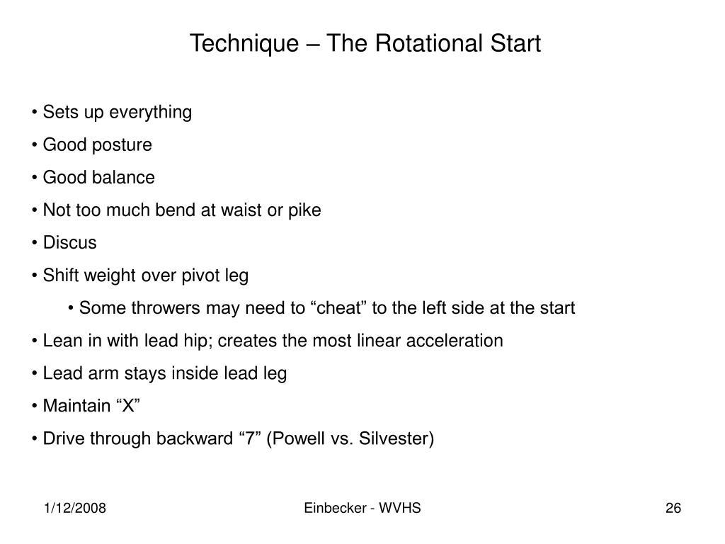 Technique – The Rotational Start