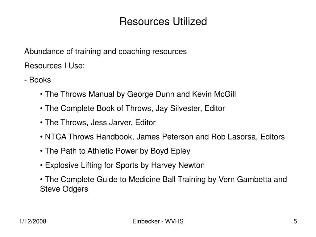 Resources Utilized