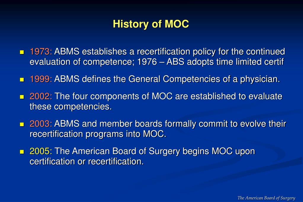 History of MOC