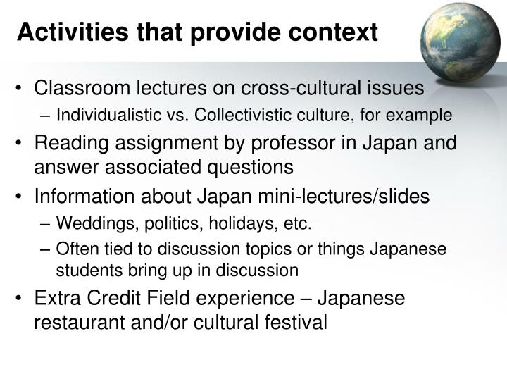 Activities that provide context