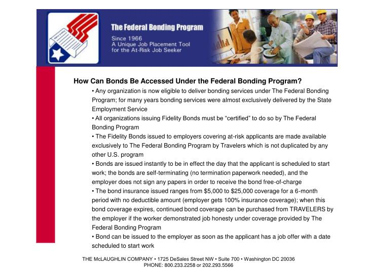 How Can Bonds Be Accessed Under the Federal Bonding Program?