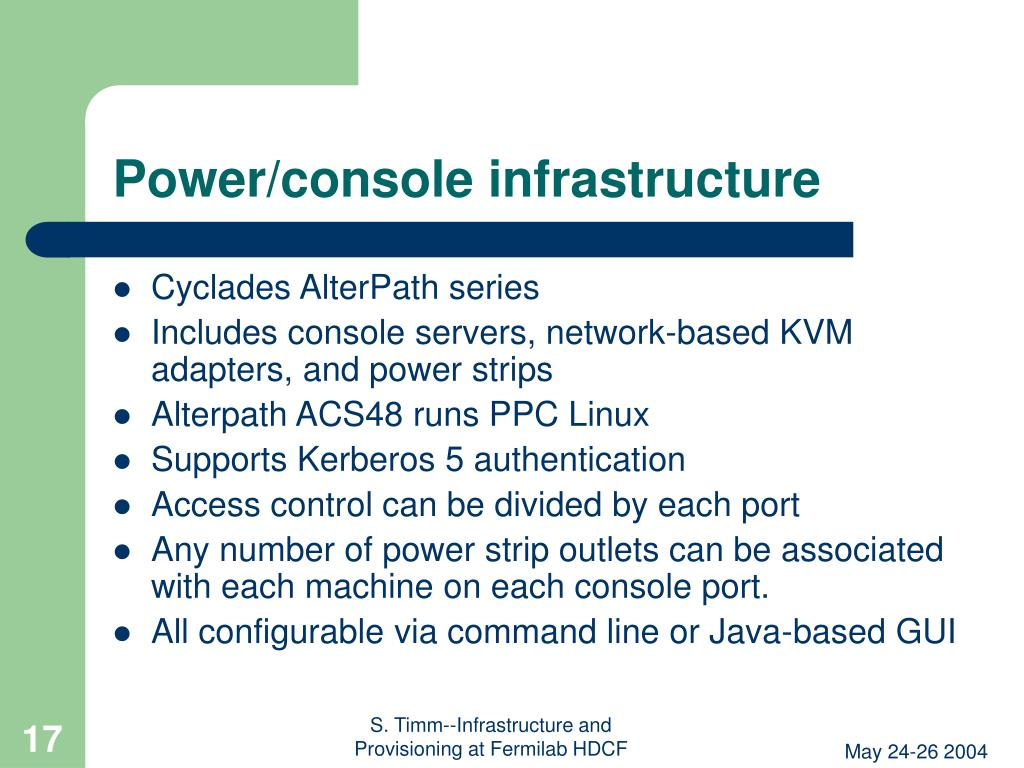 Power/console infrastructure