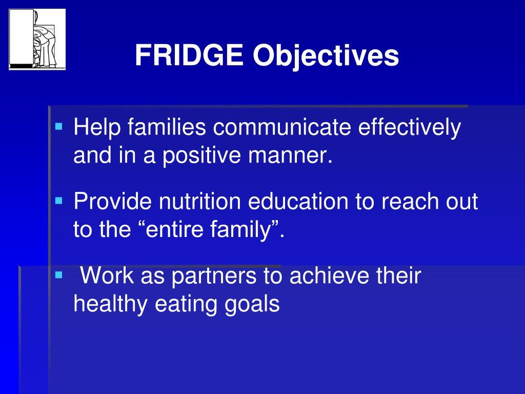 FRIDGE Objectives
