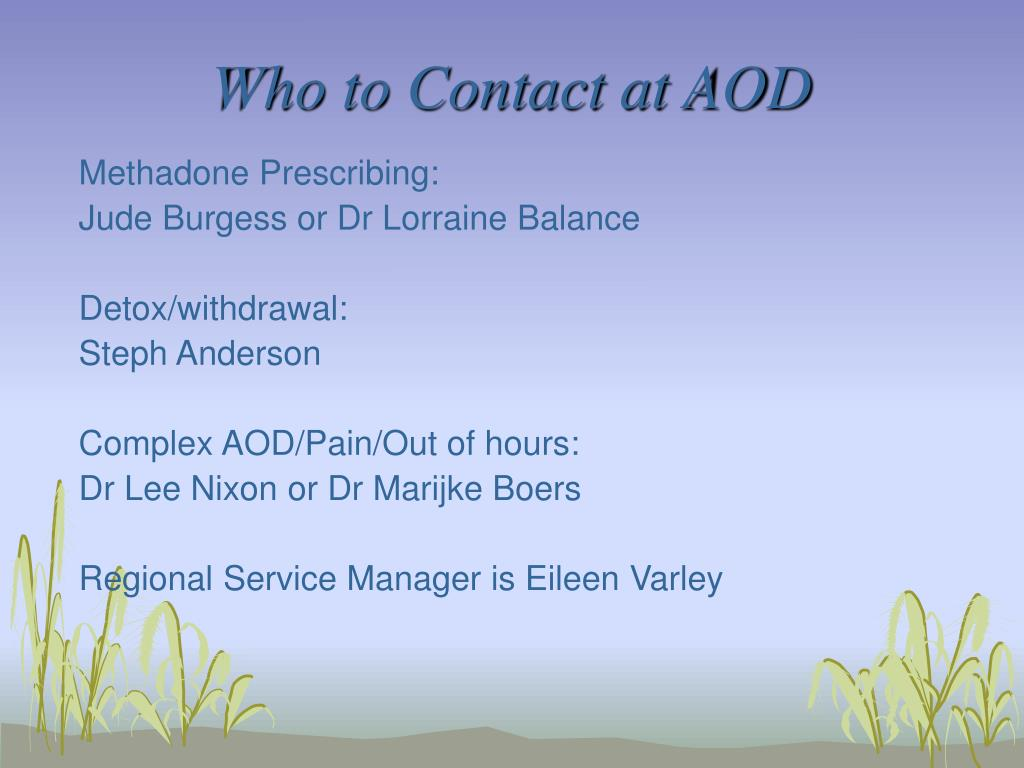 Who to Contact at AOD