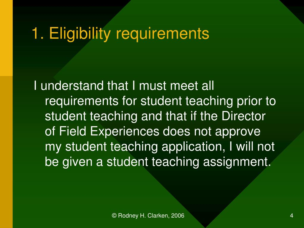 1. Eligibility requirements