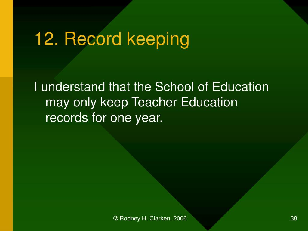12. Record keeping