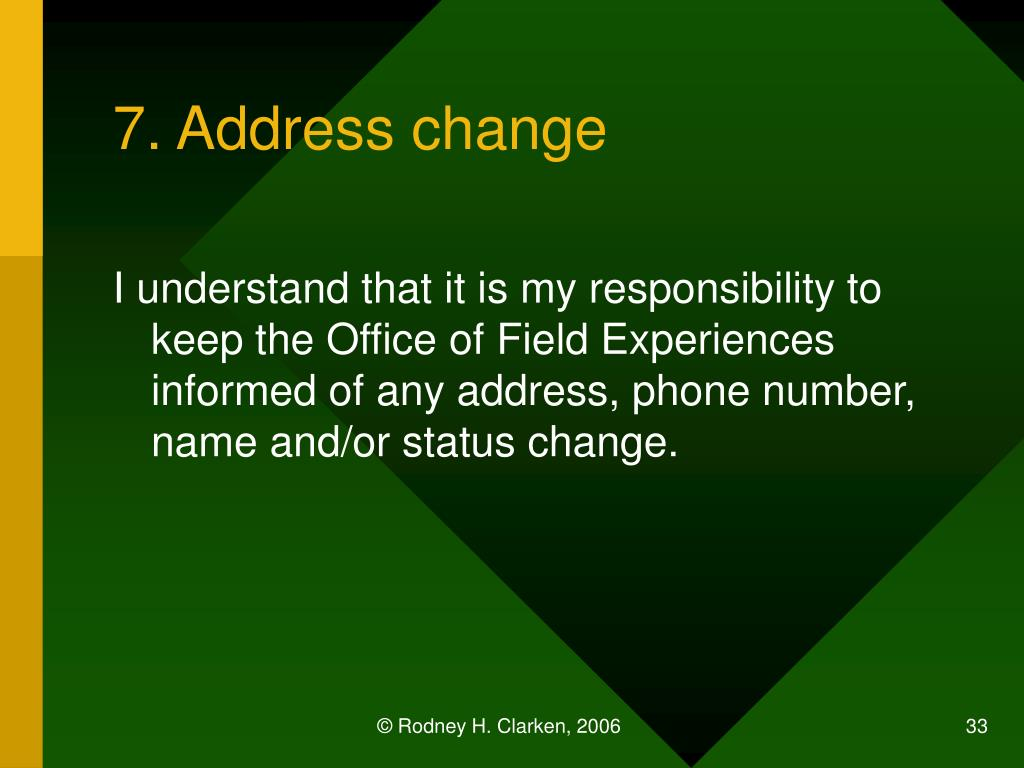 7. Address change