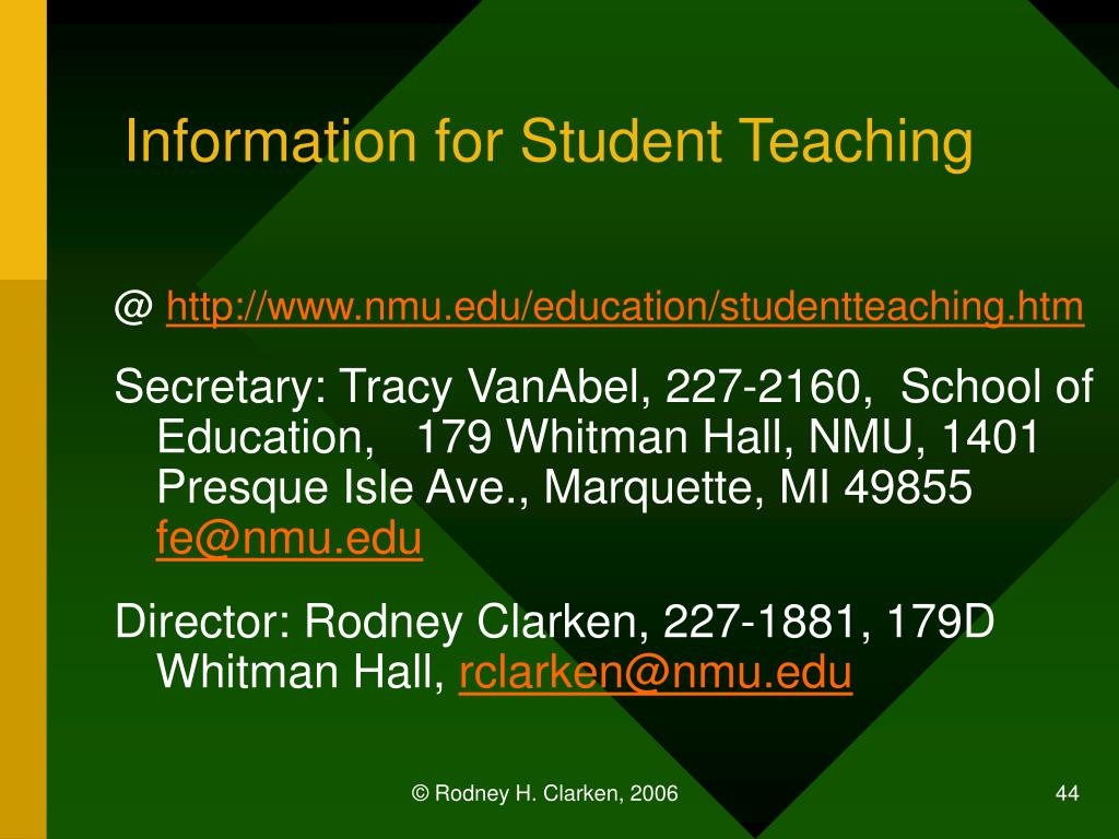 Information for Student Teaching