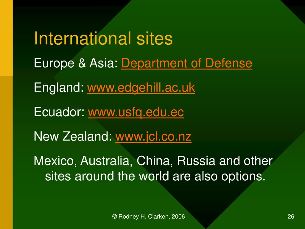 International sites