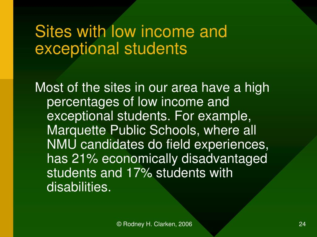 Sites with low income and exceptional students