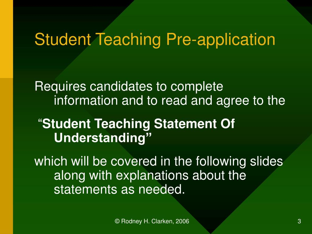 Student Teaching Pre-application