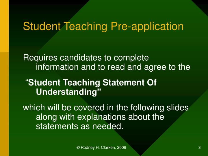 Student teaching pre application