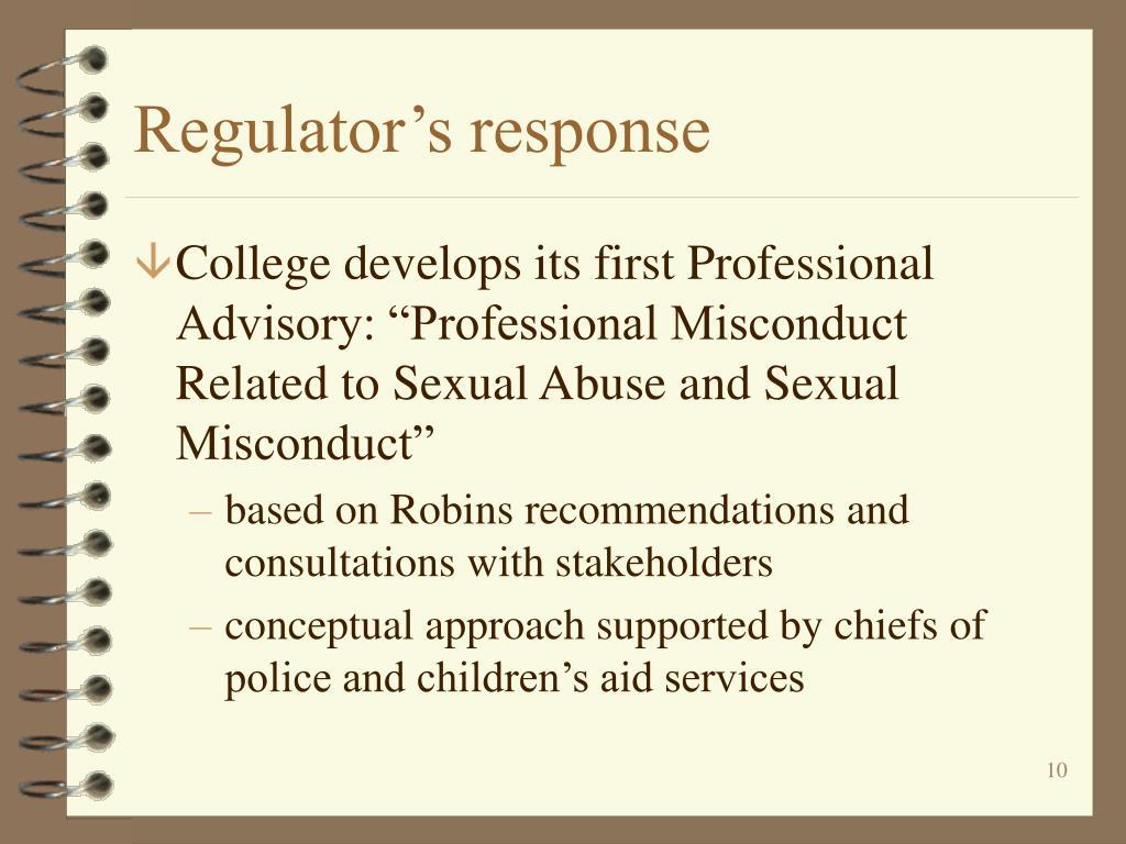 Regulator's response