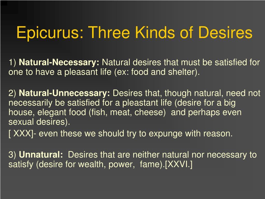 Epicurus: Three Kinds of Desires