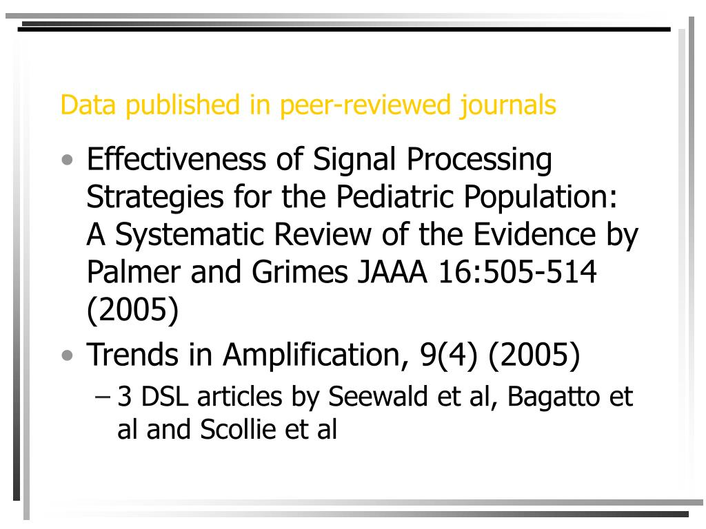 Data published in peer-reviewed journals