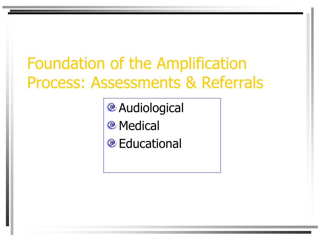 Foundation of the Amplification Process: Assessments & Referrals