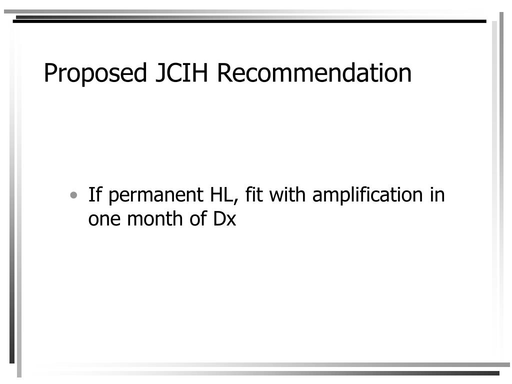 Proposed JCIH Recommendation
