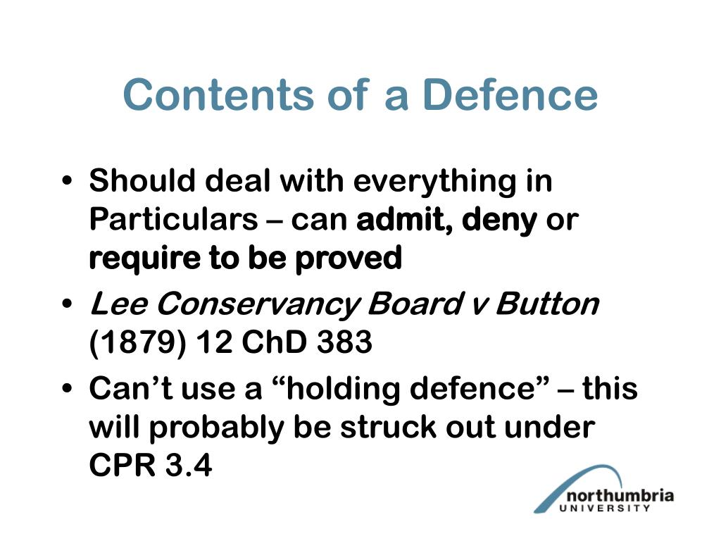Contents of a Defence