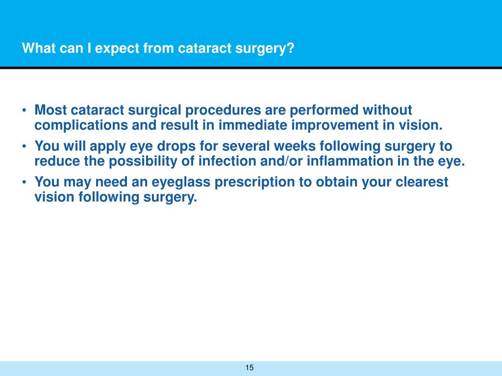 What can I expect from cataract surgery?