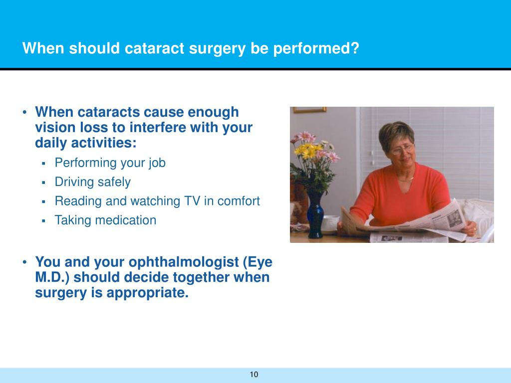 When should cataract surgery be performed?