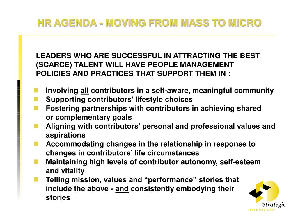 HR AGENDA - MOVING FROM MASS TO MICRO