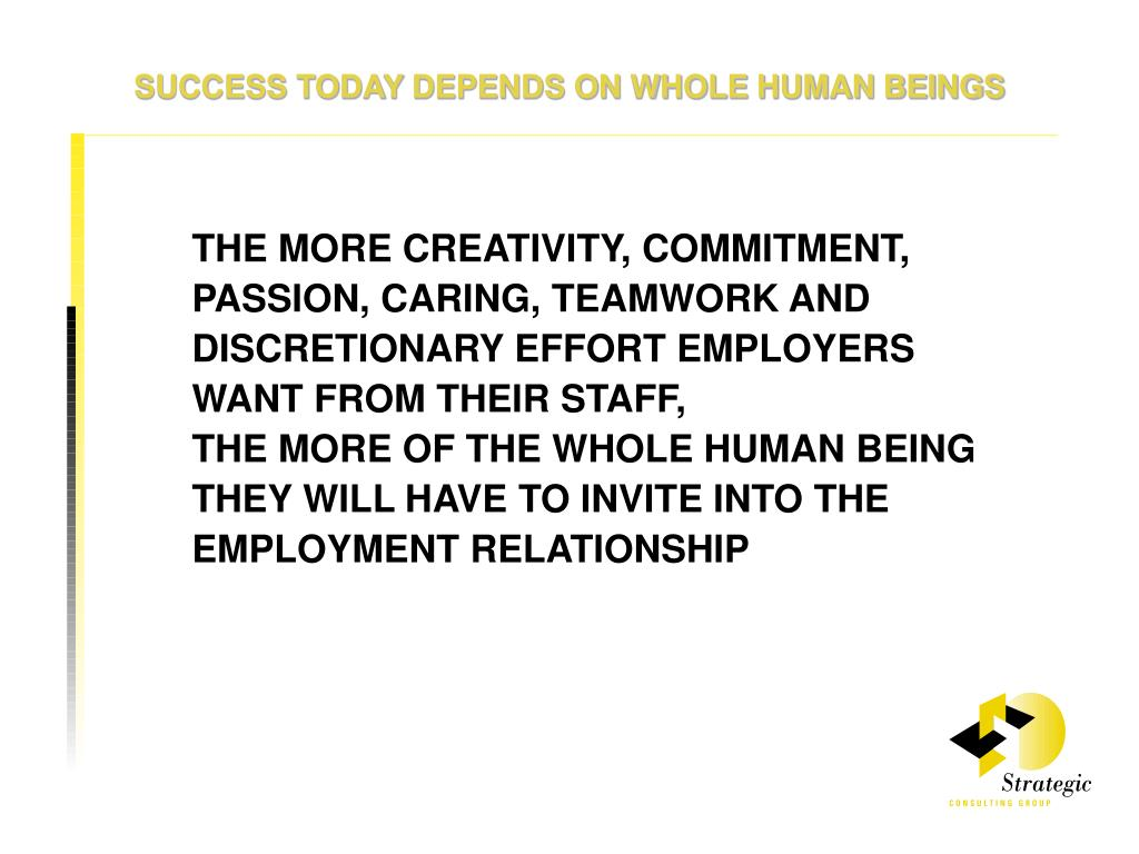 SUCCESS TODAY DEPENDS ON WHOLE HUMAN BEINGS