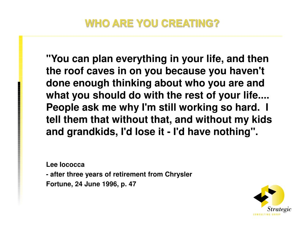 WHO ARE YOU CREATING?