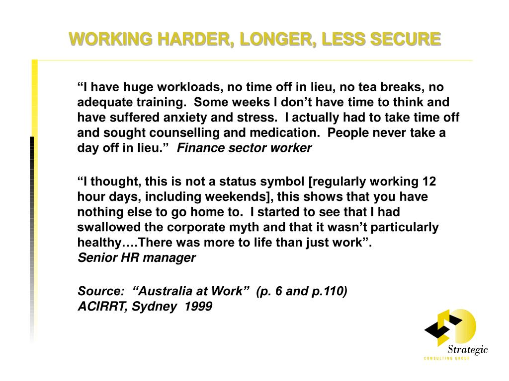 WORKING HARDER, LONGER, LESS SECURE