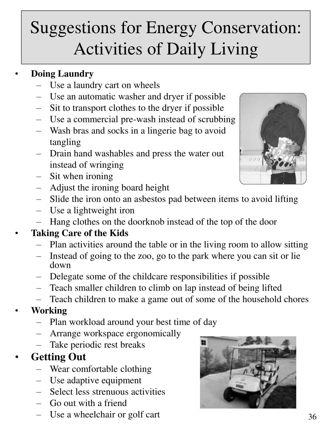 Suggestions for Energy Conservation: Activities of Daily Living