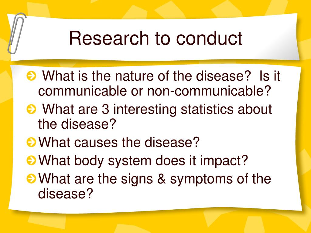 Research to conduct
