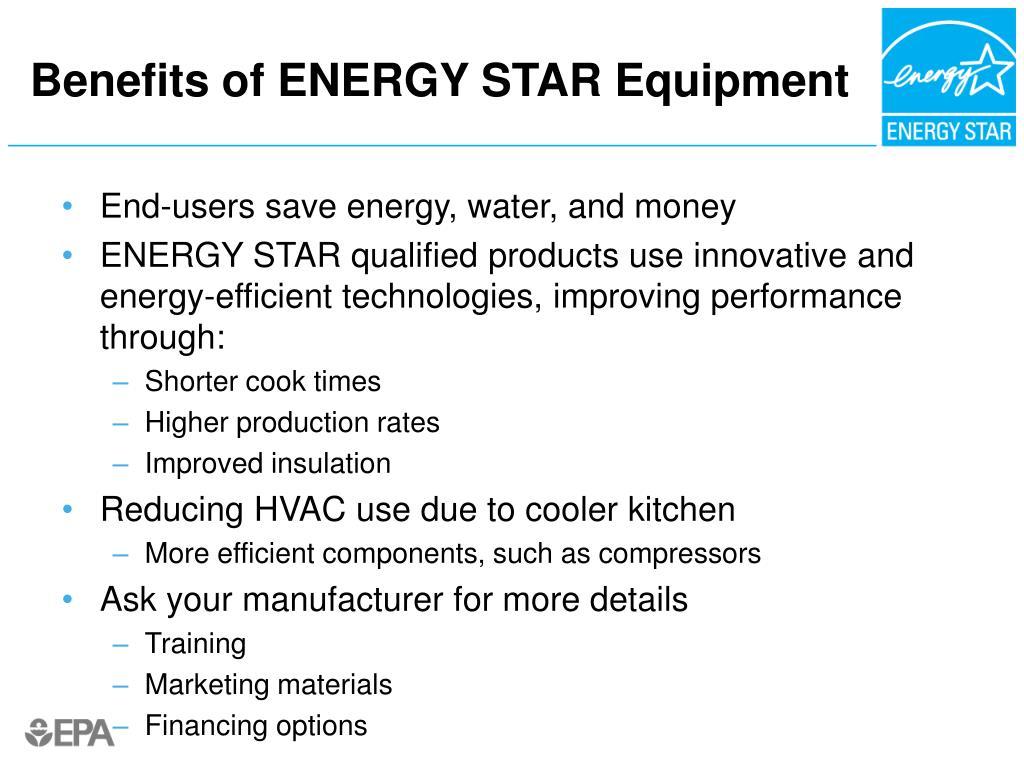 Benefits of ENERGY STAR Equipment