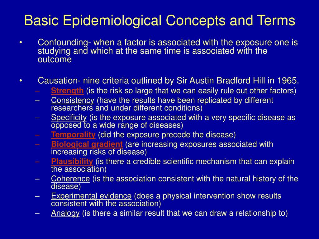 Basic Epidemiological Concepts and Terms