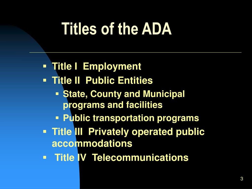 Titles of the ADA