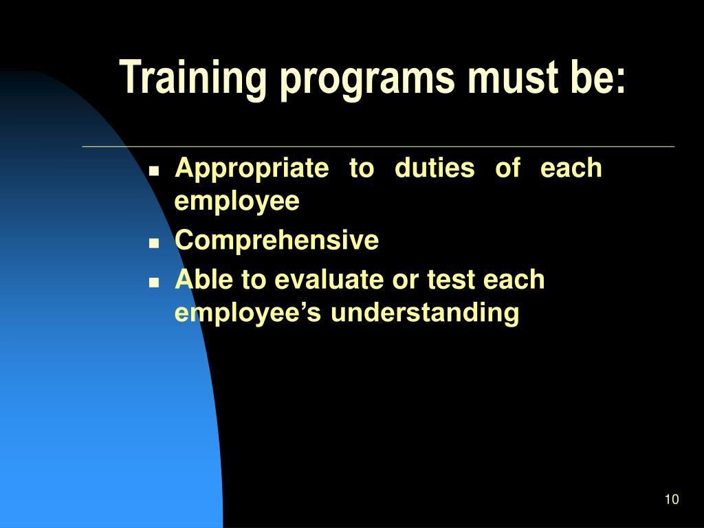 Training programs must be: