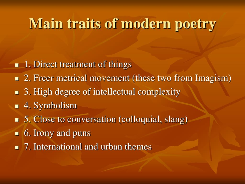 Main traits of modern poetry