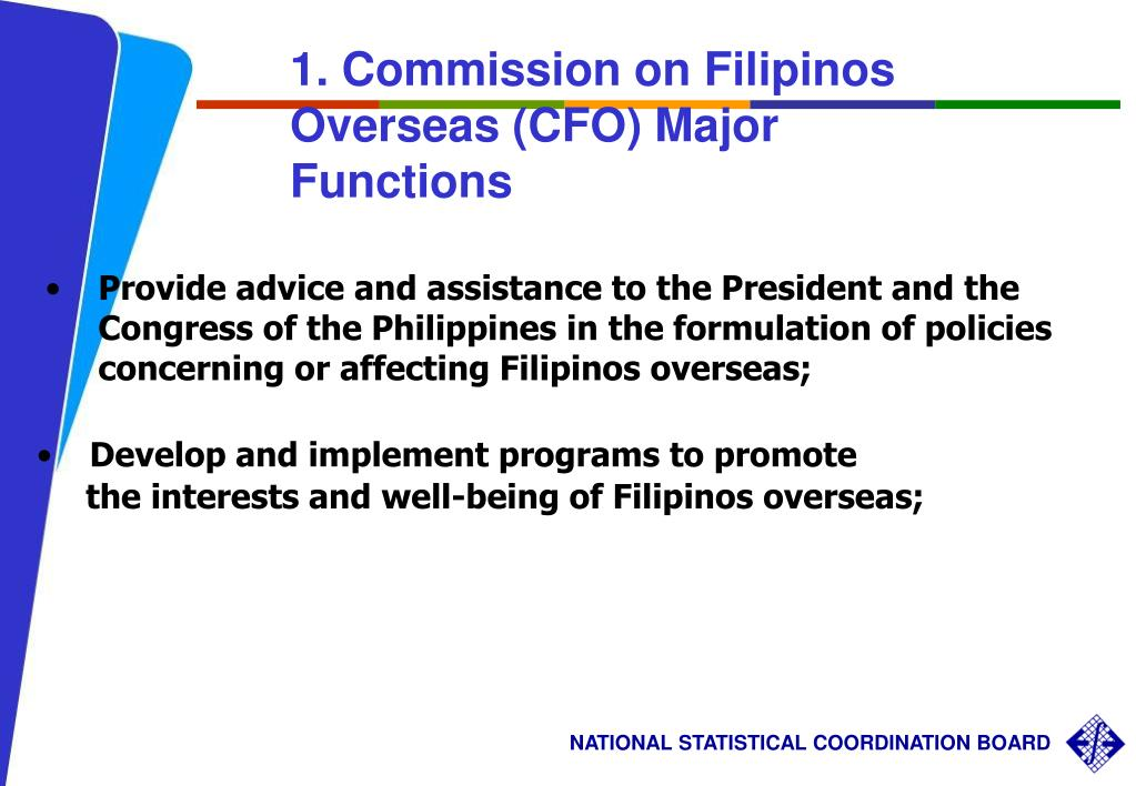 1. Commission on Filipinos Overseas (CFO) Major Functions