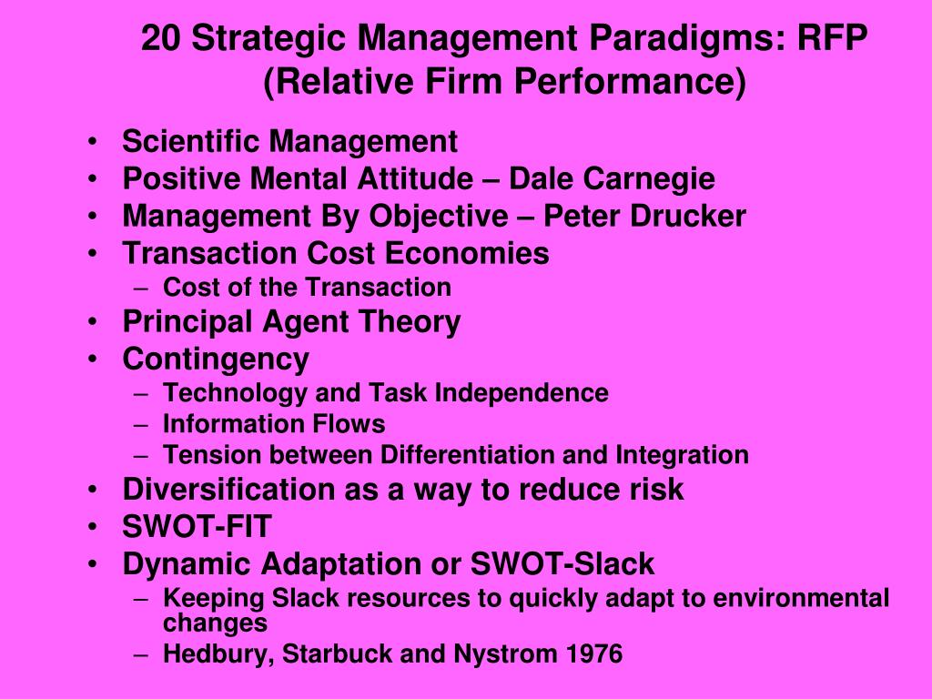 20 Strategic Management Paradigms: RFP (Relative Firm Performance)