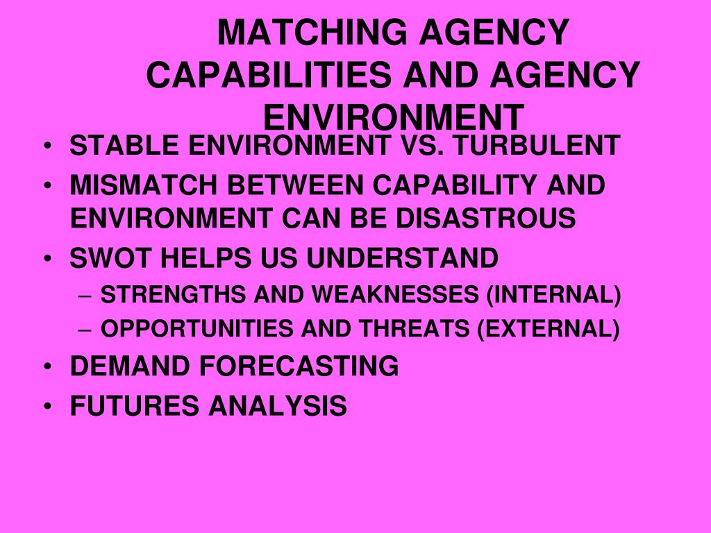 MATCHING AGENCY CAPABILITIES AND AGENCY ENVIRONMENT
