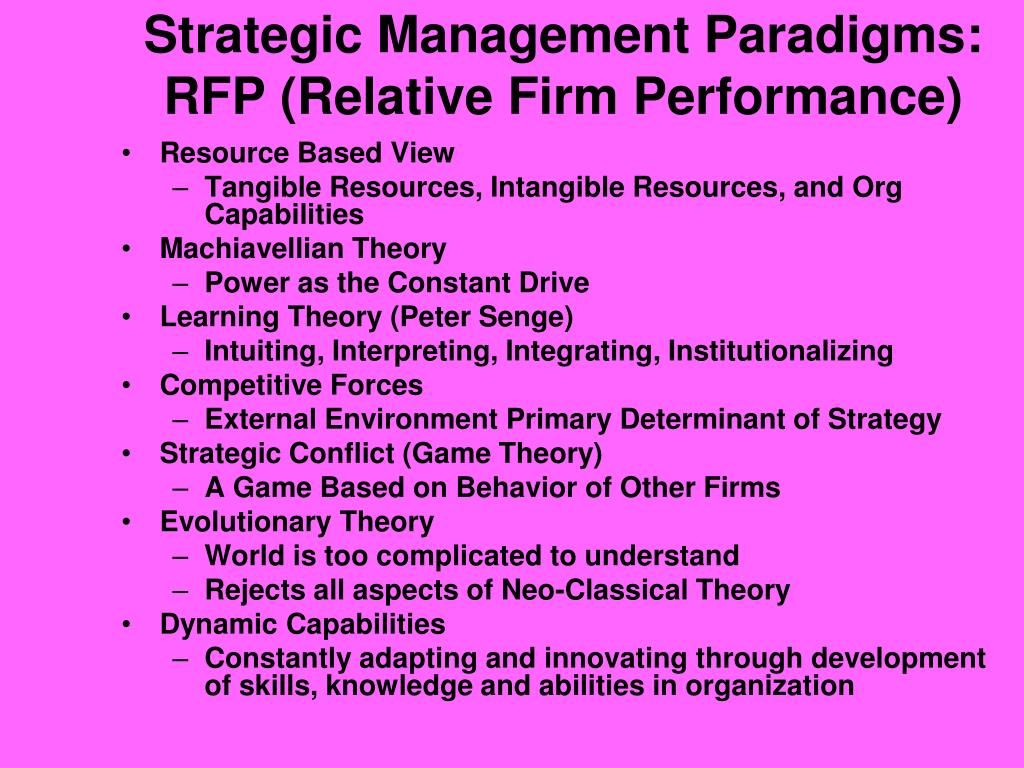 Strategic Management Paradigms: RFP (Relative Firm Performance)