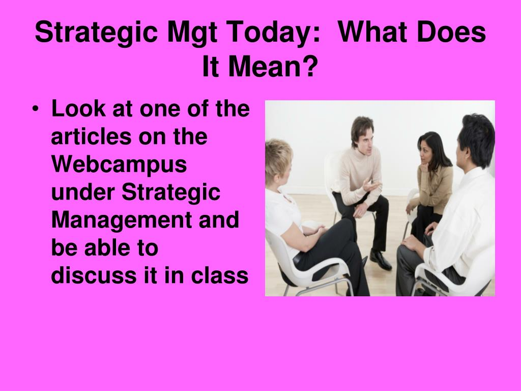 Strategic Mgt Today:  What Does It Mean?