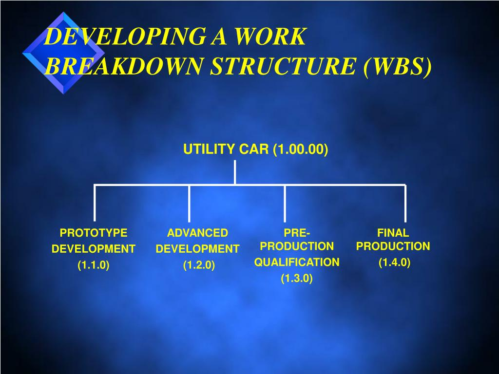 DEVELOPING A WORK BREAKDOWN STRUCTURE (WBS)