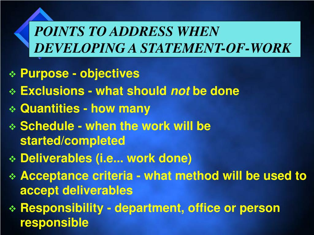POINTS TO ADDRESS WHEN DEVELOPING A STATEMENT-OF-WORK
