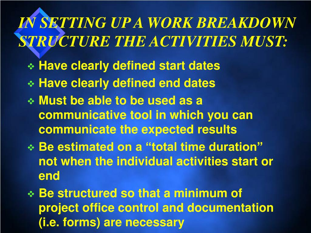 IN SETTING UP A WORK BREAKDOWN STRUCTURE THE ACTIVITIES MUST: