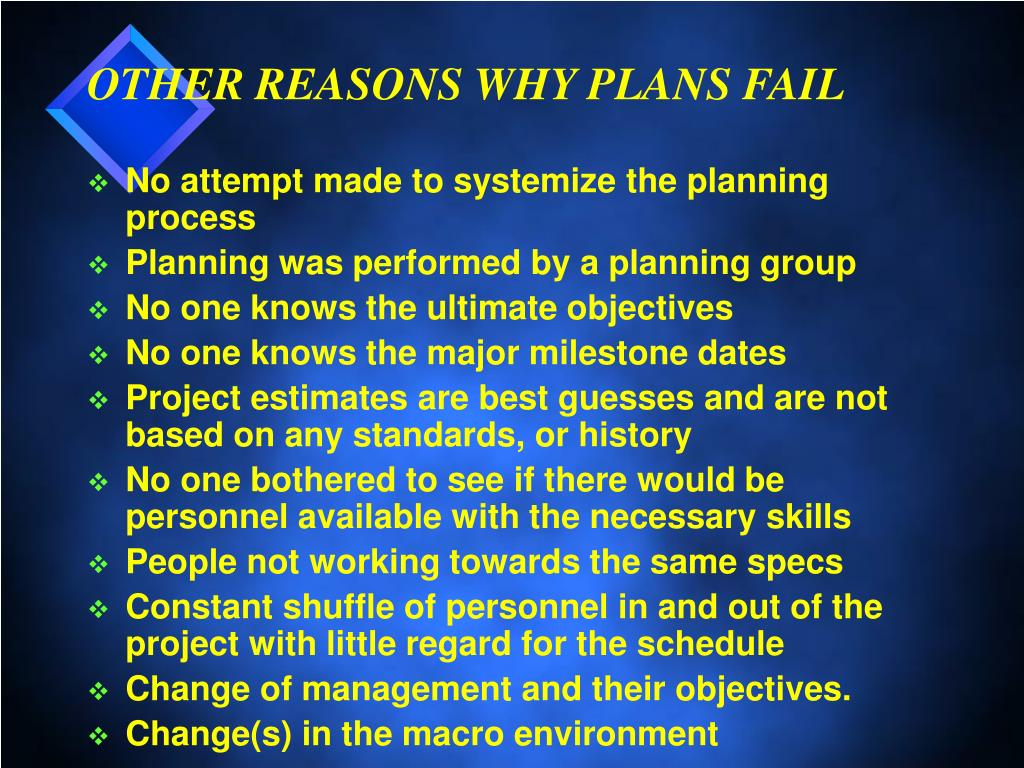 OTHER REASONS WHY PLANS FAIL