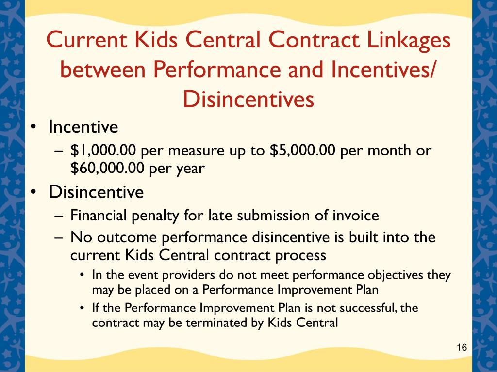Current Kids Central Contract Linkages between Performance and Incentives/