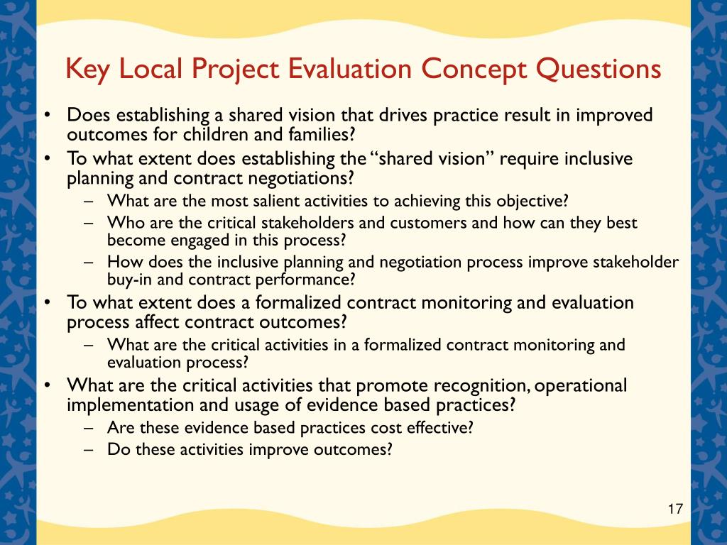 Key Local Project Evaluation Concept Questions