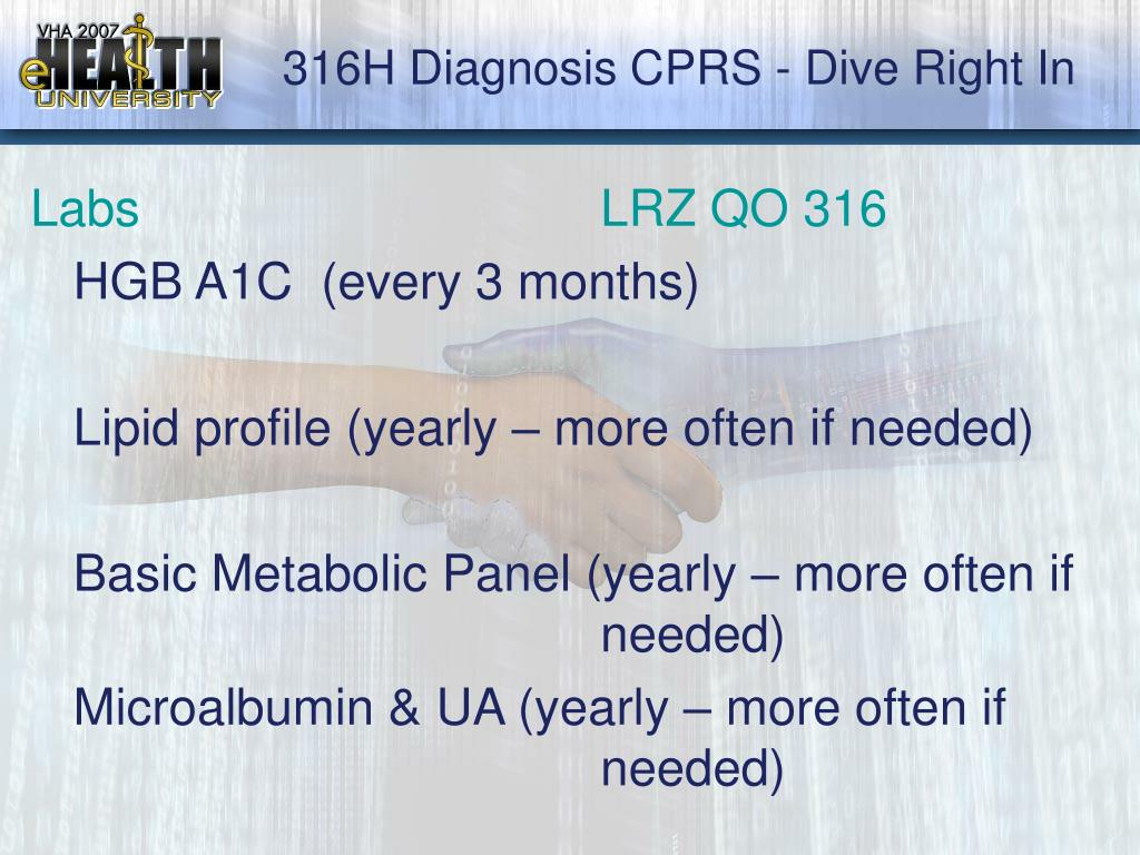 316H Diagnosis CPRS - Dive Right In