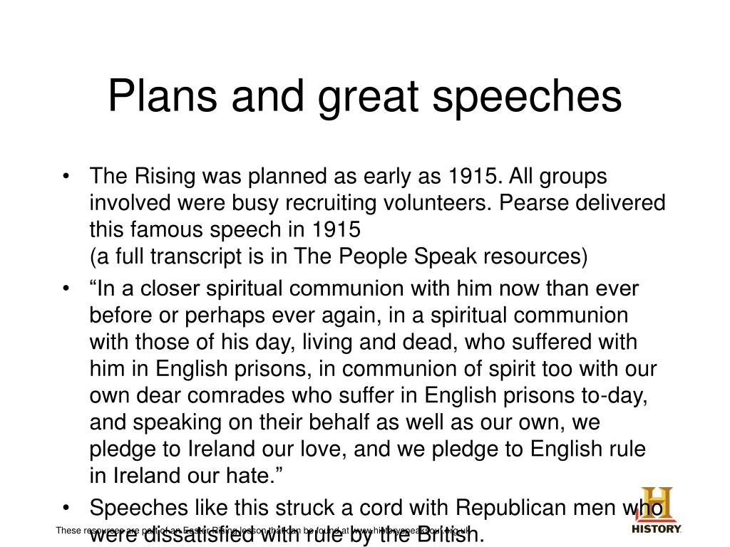 Plans and great speeches